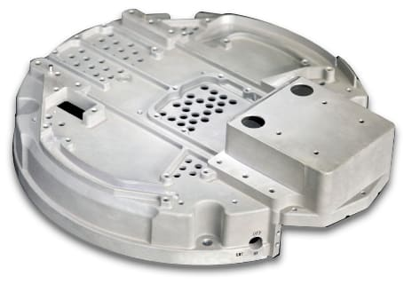 Details of an aluminum alloy casting that is commonly used in the aerospace industry.