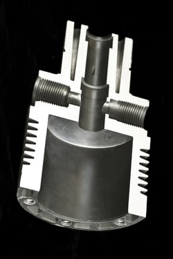 Closeup details of an original sand casting component manufactured by SKS Die Casting.